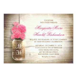 Mason jar & cute pink flowers wedding invites