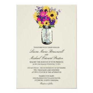 Mason Jar Daisies and Sunflowers 5x7 Paper Invitation Card