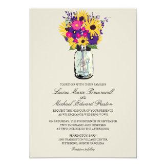 Mason Jar Daisies and Sunflowers Card