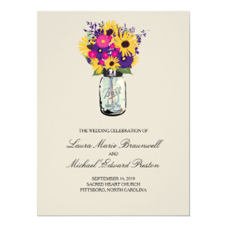 Mason Jar Daisies and Sunflowers | Program 6.5x8.75 Paper Invitation Card