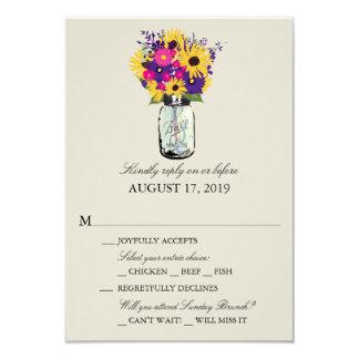 Mason Jar Daisies and Sunflowers   RSVP 3.5x5 Paper Invitation Card