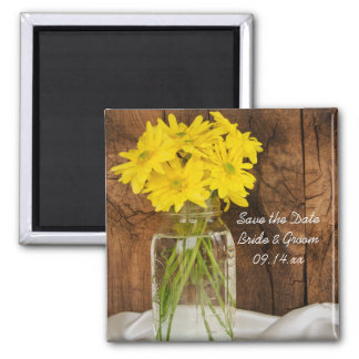 Mason Jar Daisies Country Wedding Save the Date 2 Inch Square Magnet