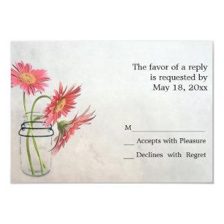 Mason Jar Daisies RSVP Cards Custom Invitations