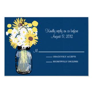 Mason Jar Daisies Sunflowers & Billy Balls  RSVP Card