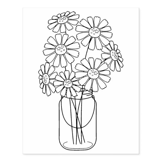 Mason Jar Daisy Flowers Coloring Page Rubber Stamp