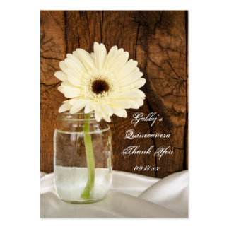 Mason Jar Daisy Thank You Quinceañera Favor Tags Large Business Cards (Pack Of 100)