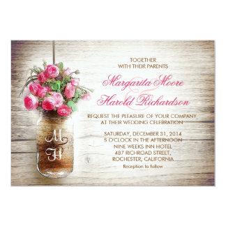 Mason jar & dark pink flowers wedding invites
