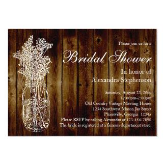 Mason Jar Dark Wood-Look Bridal Shower Invitation