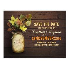 mason jar & fall leaves save the date postcard