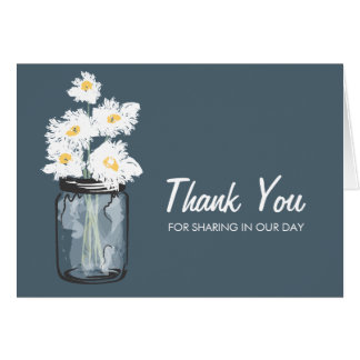 Mason Jar filled with White Daisies Card