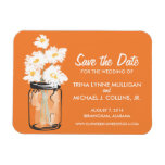 Mason Jar filled with White Daisies Save the Date Rectangle Magnets