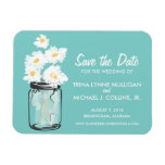Mason Jar filled with White Daisies Save the Date Vinyl Magnets