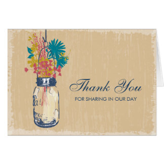 Mason Jar filled with Wilflowers Stationery Note Card