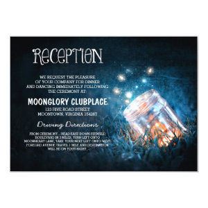 mason jar fireflies blue night wedding reception custom invite