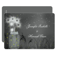 Mason Jar, Fireflies, Chalkboard, Wedding Invite