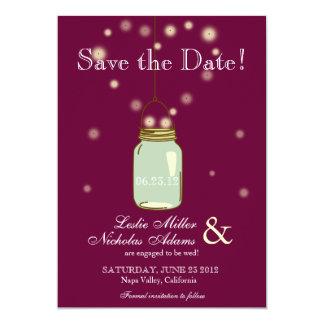 Mason Jar Fireflies Heart Wedding Save the Date Card