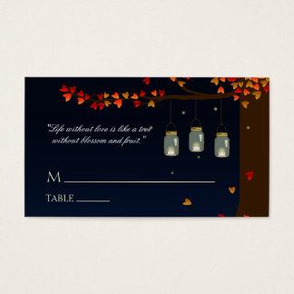 Mason Jar Fireflies Oak Tree Name Cards