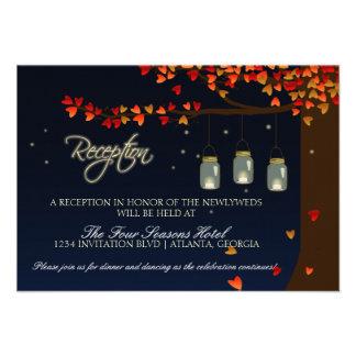 Mason Jar Fireflies Oak Tree Reception Personalized Invitation