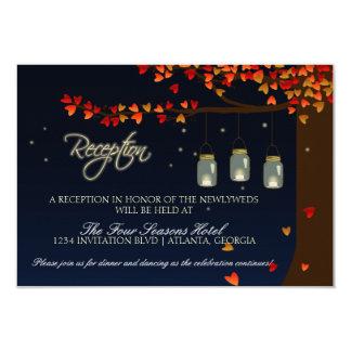 Mason Jar Fireflies Oak Tree Reception 3.5x5 Paper Invitation Card