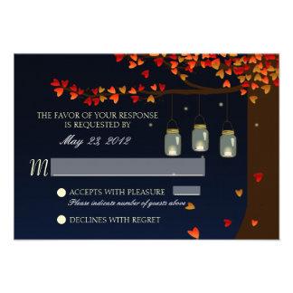 Mason Jar Fireflies Oak Tree RSVP Custom Invitations