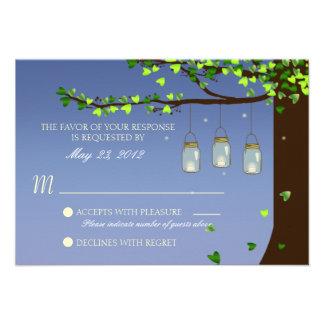 Mason Jar Fireflies Oak Tree RSVP Custom Announcement