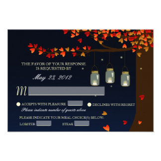 Mason Jar Fireflies Oak Tree RSVP Meal Options Invitations