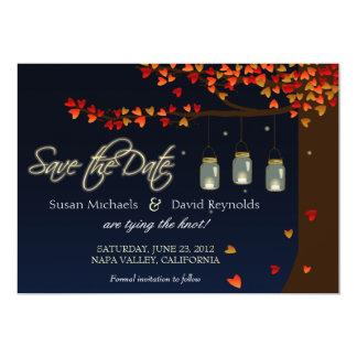 Mason Jar Fireflies Oak Tree Save the Date Card