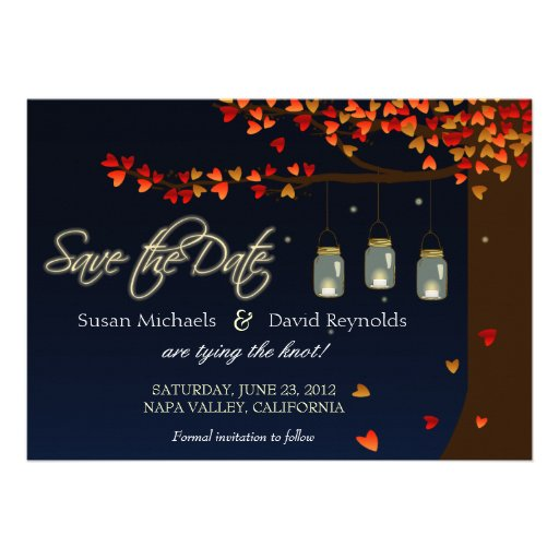 Mason Jar Fireflies Oak Tree Save the Date Personalized Announcement