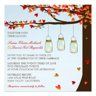 Mason Jar Fireflies Oak Tree Wedding Invite Day