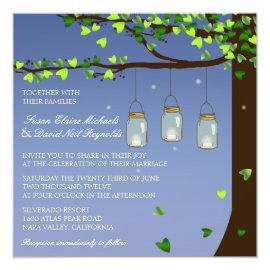 Mason Jar Fireflies Oak Tree Wedding Invite 5.25