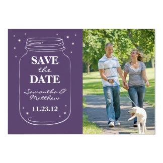 Mason Jar Fireflies Photo Save the Date Purple 5x7 Paper Invitation Card