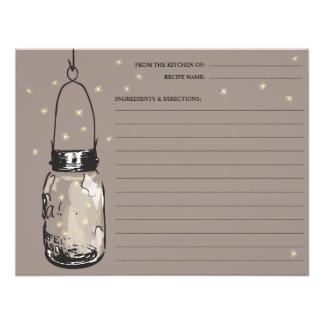 Mason Jar & Fireflies Recipe Card Custom Announcement