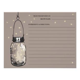 Mason Jar Fireflies Recipe Card Custom Announcement