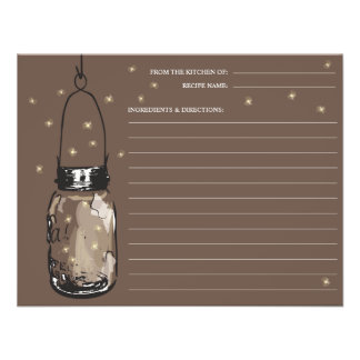 Mason Jar Fireflies Recipe Card Personalized Announcements