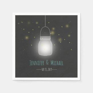 Mason Jar Fireflies Rustic Modern Wedding Paper Napkin