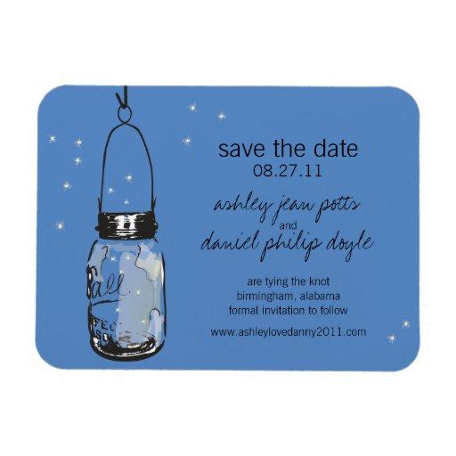Mason Jar & Fireflies Save the Date Magnets