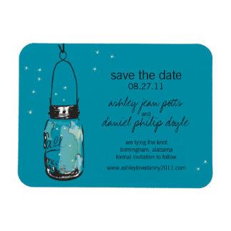 Mason Jar & Fireflies Save the Date Rectangle Magnet