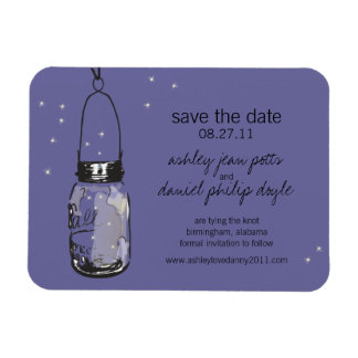 Mason Jar & Fireflies Save the Date Vinyl Magnets