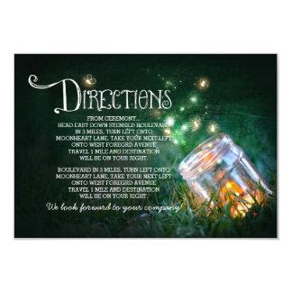 "mason jar fireflies wedding directions card 3.5"" x 5"" invitation card"