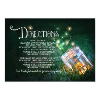 "mason jar fireflies wedding directions card 3.5"" x 5"" invitation card"