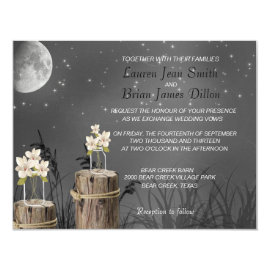 Mason Jar Fireflies Wild Flower Wedding Invitation 4.25