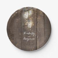 Mason Jar Firefly Lighting Rustic Wedding Paper Plate