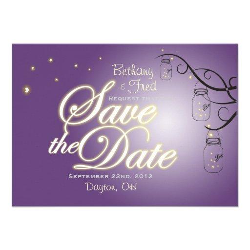 Mason Jar Firefly Lightning Bug Save The Date Invites