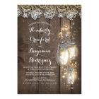 Mason Jar Firefly Lights and Lace Rustic Wedding Card