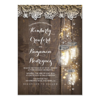 Mason Jar Firefly Lights and Lace Rustic Wedding Card