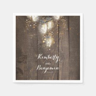 Mason Jar Firefly Lights Rustic Country Napkin