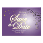 Mason Jar Firefly Save The Date - Purple & Green Personalized Announcements