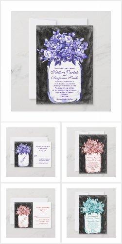 Mason Jar Floral Chalkboard Wedding Invitation Set