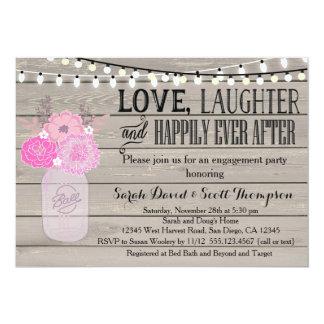 Mason Jar Floral Pink Engagment Part Invitation