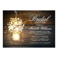 Mason Jar floral rustic bridal shower invitation